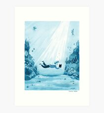 Reading a Book - watercolor monochrome illustration in blue tones Art Print