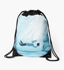 Reading a Book - watercolor monochrome illustration in blue tones Drawstring Bag