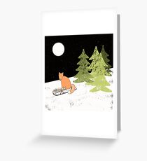 Fox Riding a Sledge in Snowy Winter Forest Greeting Card