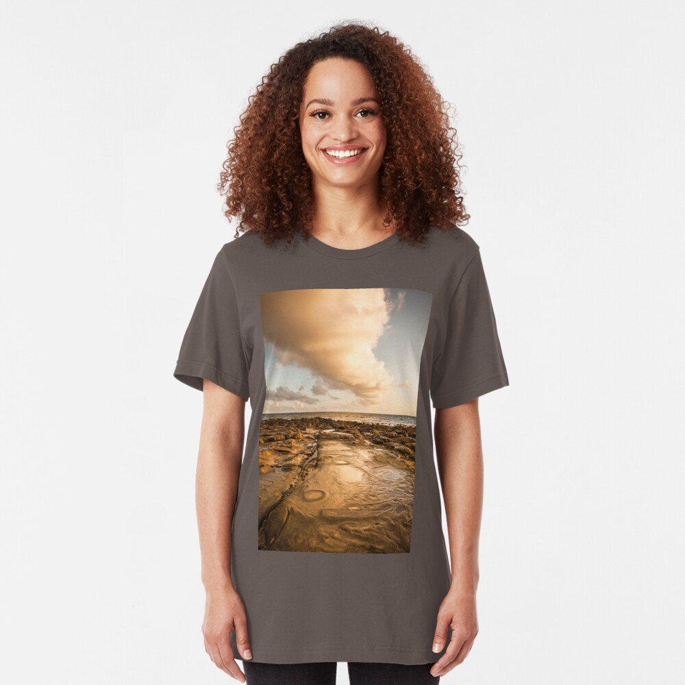 Rocky beach at tip of Borneo Slim Fit T-Shirt