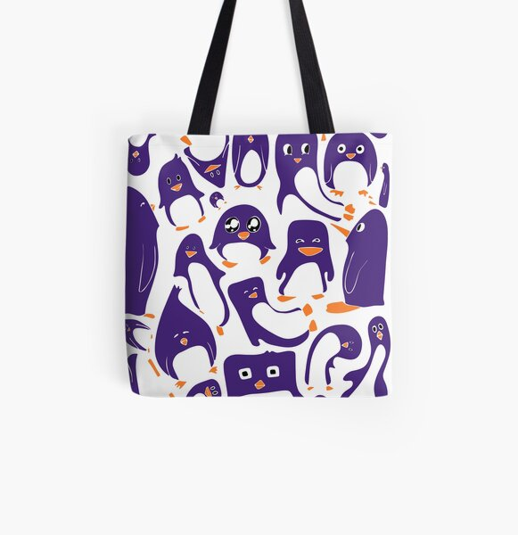 Purple Penguin Party All Over Print Tote Bag