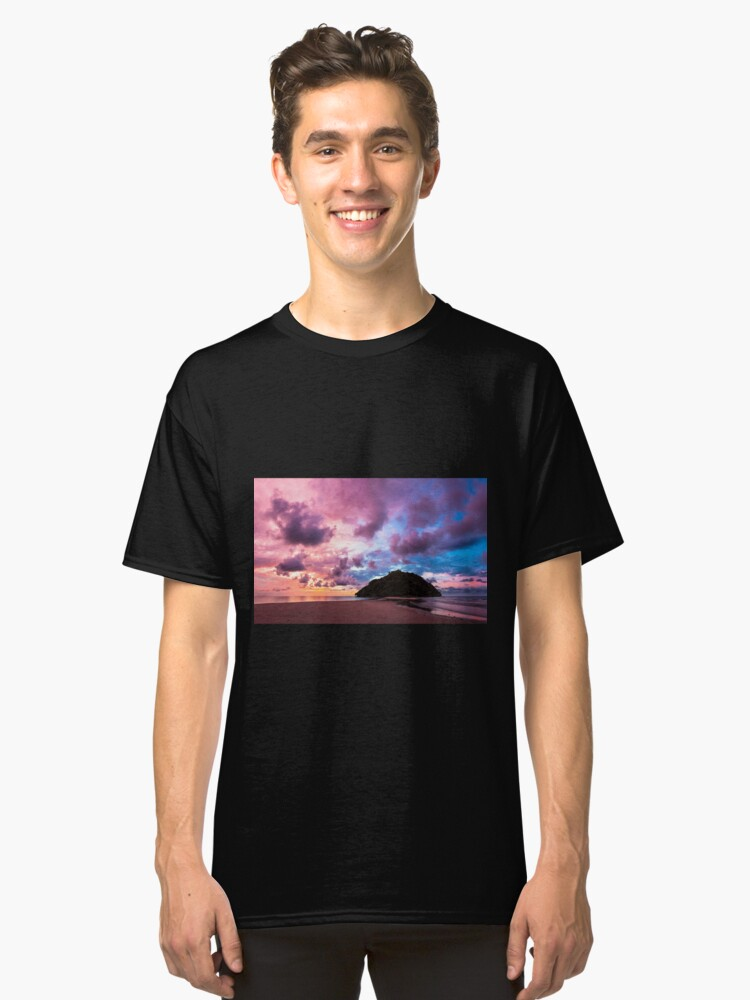 Alternate view of Tropical island and paradise beach at sunset Classic T-Shirt