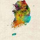 Korea Watercolor Map by Michael Tompsett