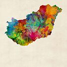 Hungary Watercolor Map by Michael Tompsett