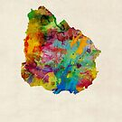 Uruguay Watercolor Map by Michael Tompsett