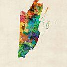 Belize Watercolor Map by Michael Tompsett