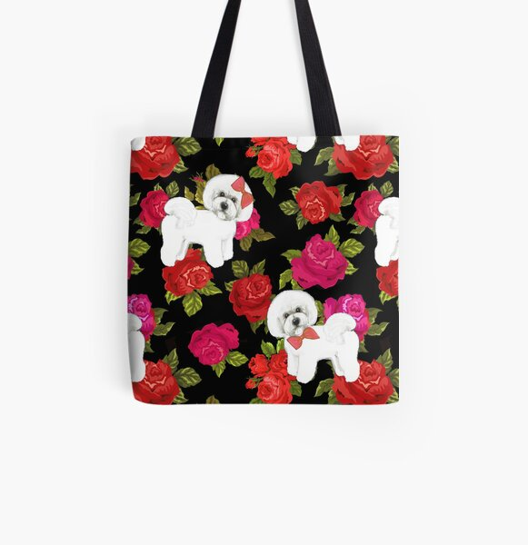 Bichon Frise Red rose, Pink rose Floral All Over Print Tote Bag