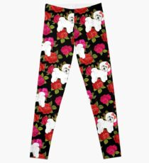 Bichon Frise Red rose, Pink rose Floral Christmas Leggings