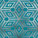 Silver Aqua Star Geometry  by Adriano Carrideo