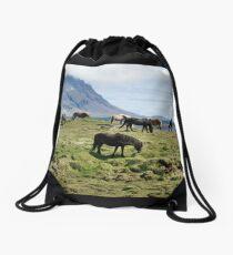 Icelandic horses Drawstring Bag