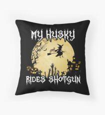 Halloween Husky Costume My Husky Rides Shotgun Tee Throw Pillow