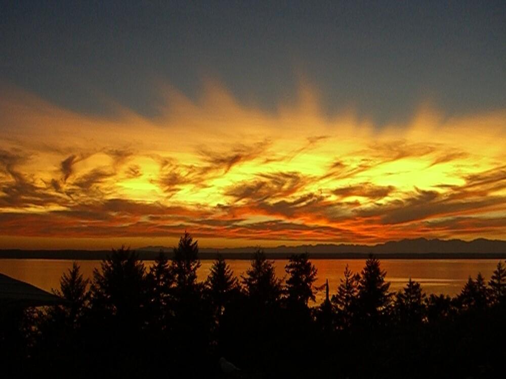 SUNSET AT FOX ISLAND, WA.  by MsLiz