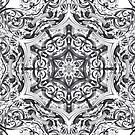 kaleidoscope bohemian chic sketch swirls black white mandala  by lfang77