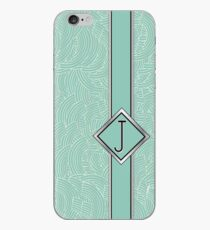 1920s Blue Deco Swing with Monogram letter j iPhone Case