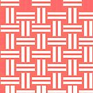 Coral and white basketweave pattern by HEVIFineart