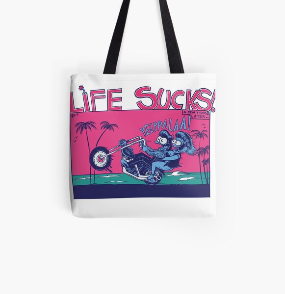 Life Sucks #1 - Blondes and bikes All Over Print Tote Bag
