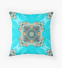 Decorative Ethnic  Moroccan Pattern Turquoise Blue Gold Medallion Throw Pillow