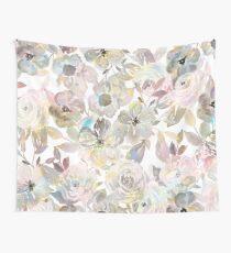 Elegant whimsical grey watercolor roses Wall Tapestry