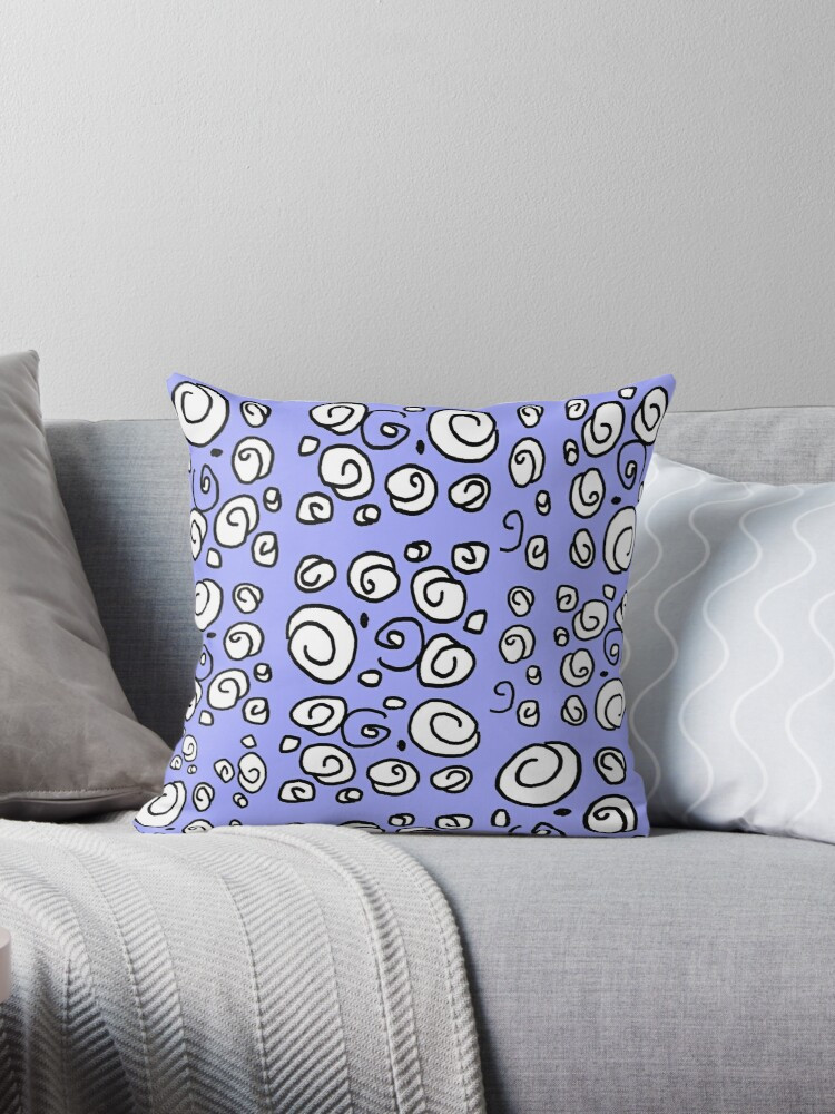 Swirl blue black and white pattern by HEVIFineart