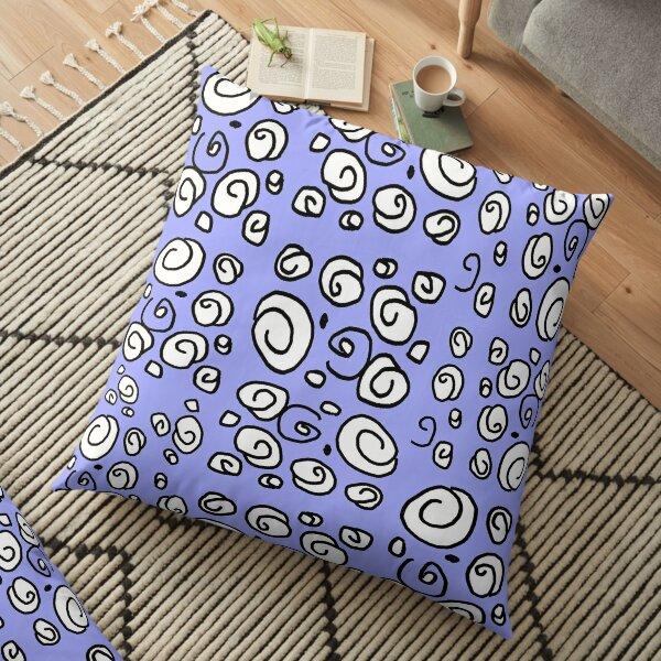 Swirl blue black and white pattern Floor Pillow