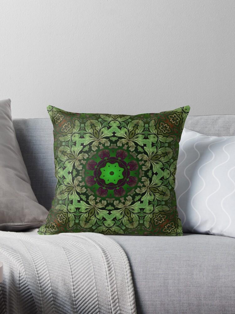 Renaissance art  bohemian print forest green Mandala  by lfang77