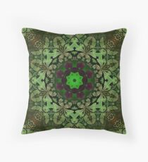 Renaissance art  bohemian print forest green Mandala  Throw Pillow