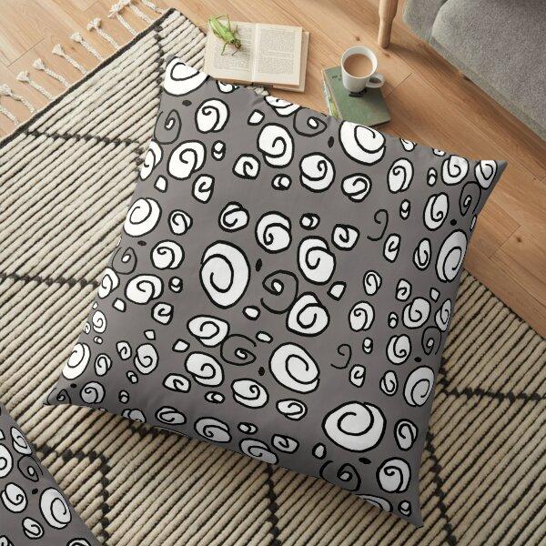 Swirl gray black and white pattern Floor Pillow