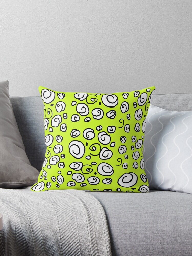 Swirl yellow black and white pattern by HEVIFineart