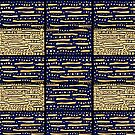 Blue, gold geometric pattern by HEVIFineart