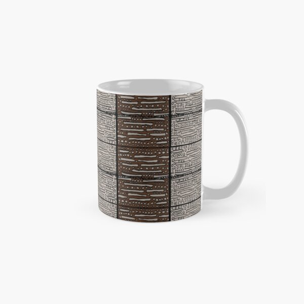 Brown,taupe,black geometric panel pattern Classic Mug