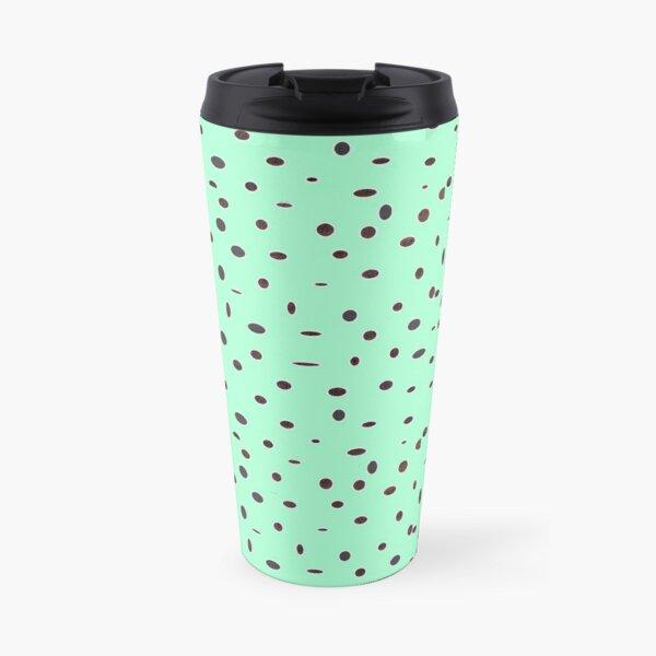 Omni dots stylish mint green black pattern DOTS07 Travel Mug