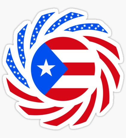 Puerto Rican American Multinational Patriot Flag Series Sticker