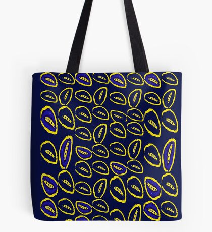 Yellow seed blue pattern Tote Bag