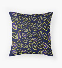 Yellow seed blue pattern Throw Pillow