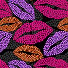 Luscious Lips In Pink Purple And Orange Pattern by theartofvikki