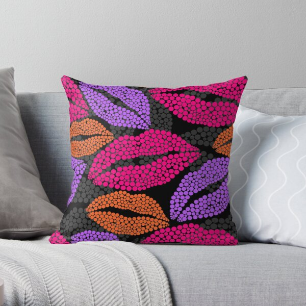 Luscious Lips In Pink Purple And Orange Pattern Throw Pillow