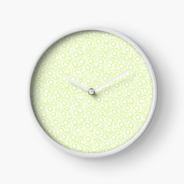 Cool modern swirls pale green white pattern   Clock