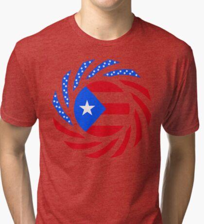 Puerto Rican American Multinational Patriot Flag Series Tri-blend T-Shirt