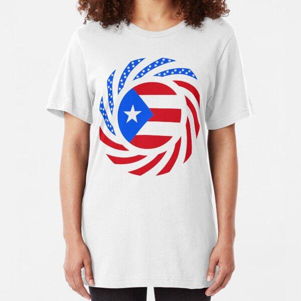 Puerto Rican American Multinational Patriot Flag Series Slim Fit T-Shirt