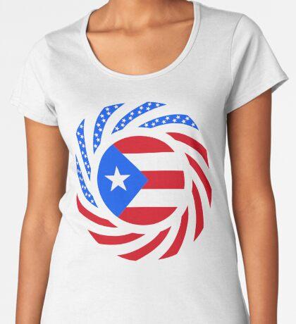 Puerto Rican American Multinational Patriot Flag Series Premium Scoop T-Shirt