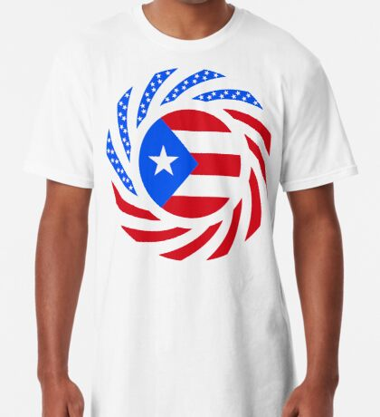 Puerto Rican American Multinational Patriot Flag Series Long T-Shirt
