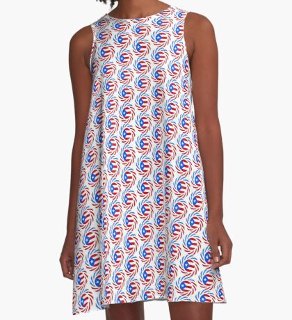 Puerto Rican American Multinational Patriot Flag Series A-Line Dress