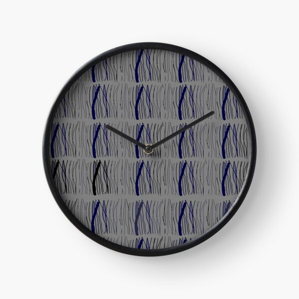 Gray blue sticks pattern Clock