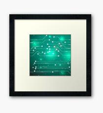Modern Computer Technology Green Background. Circuit Board Pattern. High Tech Printed Circuit Board Framed Print