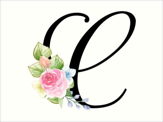 Floral Monogram Fancy Script Letter C