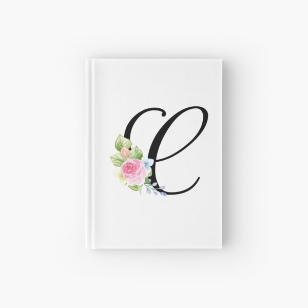 Floral Monogram Fancy Script Letter C Hardcover Journal