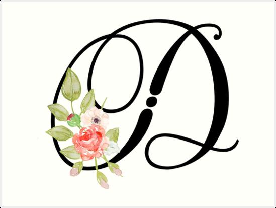 floral monogram fancy script letter d by grafixmom
