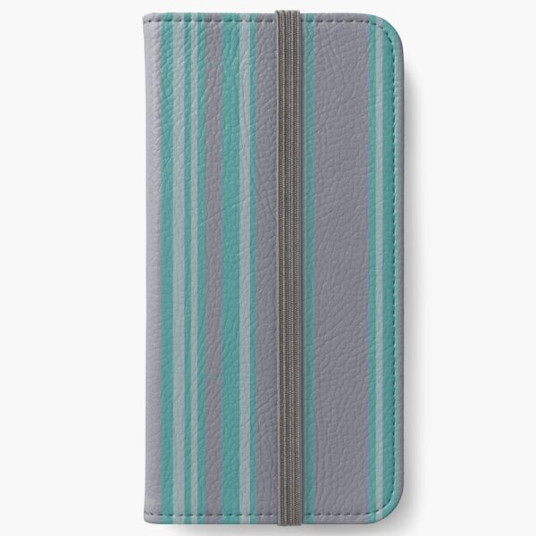 Turquoise gray awning stripe pattern iPhone Wallet