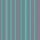 Turquoise gray awning stripe pattern by HEVIFineart