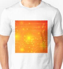 Modern Computer Technology Orange Background. Circuit Board Pattern. High Tech Printed Circuit Board T-Shirt